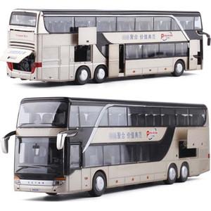 1:32 Alta Simulação Dupla Sightseeing Bus Modelo Toy Cars Liga Piscando Som Veículo Brinquedos para crianças crianças