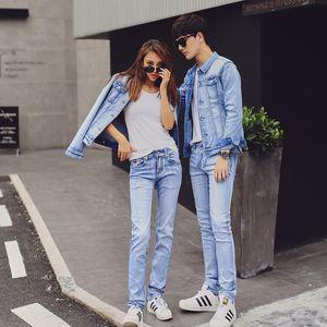 Un par de jeans y conjunto de chaqueta de jeans para mujer de 2018, nuevo estilo de calidad y versión coreana de pantalones vaqueros delgados, uniforme de clase escolar, dos