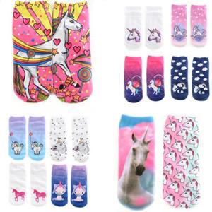 Calda stampa 3D Unicorno Donna Casual Low Cut calzini per bambini Abbigliamento per bambine Accessori per ragazze Calzini Unicorn Cartoon Animal Print Hip Hop Socks