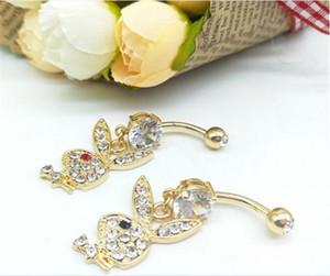 sexy bar Bunny chapado en oro cuelga el ombligo anillos del ombligo Body Piercing Jewelry R175