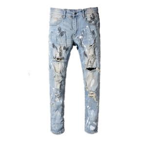 2019 Miri European Style Marke Herren Damen Jeans Luxus Jeans Hose Slim Straight Patchwork blaue Loch Jeans Hose
