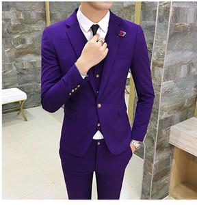 Новый Стиль Фиолетовый Slim Fit 3 Шт Костюм Мужчины Свадебные Смокинги Отличный Жених Смокинги Мужчины Бизнес-Ужин Пром Блейзер (Куртка + Брюки + Галстук + Жилет) 877