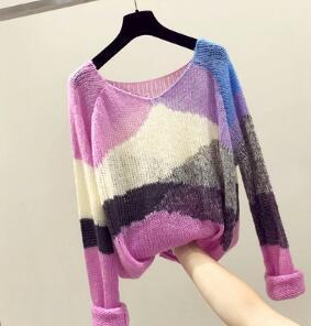 Ist neue Art des entspannten Kreises Bluse, die Mode bringt eine Farbe Langarm Strick kostenloser Versand