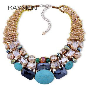 KAYMEN Bohemian NEW choker Necklace, Women's Strand Multilayer Crystal bib Statement necklace NK-01290 C18111301