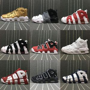 2019 Air More Uptempo Mujeres Hombres Zapatos Casuales, Alta Calidad de Tres Colores Scottie Pippen PE Triple Blanco Atlético Zapatos Casuales US5.5-13