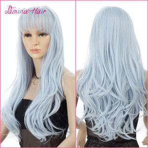 Long Halloween Synthetic Hair New Fashion 2T Ombre Curly Wavy Wigs Fashion Heat Resistat Dark Root to White Midddle part Full Head Wigs