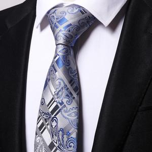 wholesale 100% silk paisley blue ties men 2017 wedding cravate jacquard woven necktie Party Business Formal Birthday Gift B0004