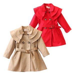 causale 2018 new baby girl trench europeo giacca di cotone solido trench per 1-6 anni ragazze bambini bambini tuta sportiva dei vestiti del cappotto