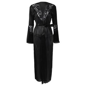 Womens Sexy Long Kimono Dress Lace Robe Lingerie Ice Silk Nightdress Solid