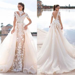 2016 Llorenzorossib Robes De Mariée Ridal Wish Sash Sexy Backless Custom Made Robes De Mariée Applique Détachable Sirène Robe De Mariage