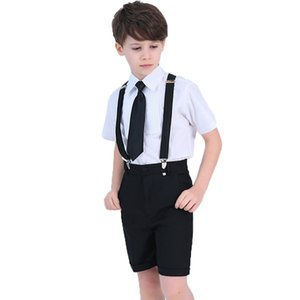 Wedding Suit For Boys Kids Formal School student Dress Gentleman Prince Kids Strap Shirt Pants Bowtie 4Pcs ceremony Costumes