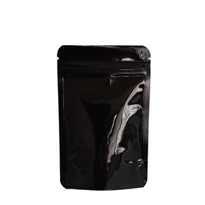 8.5*13cm Black Shiny Aluminum Foil Stand Up Packing Bag 100pcs lot Zip Lock Doypack Mylar Packing Pouch For Dried Food Tea Powder Storage