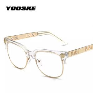 YOOSKE Moda Clara Óculos De Sol Das Mulheres Dos Homens Óculos de Prescrição Óptica Quadros De Vidro Simples Do Vintage Eyewear Mulheres Marca Designer