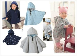 3 renkler Bebek Çift boyutlu Pelerinler Çocuk Çocuklar Hoodies Dış Giyim ile Noktalar Çiçekler Bebek Yürüyor Geri Dönüşümlü Panço Pelerin 3 parça bir lot