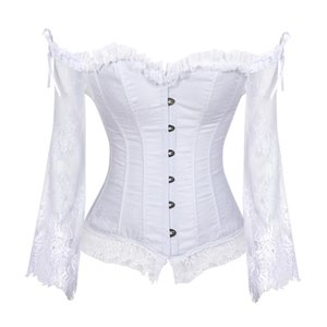 Top corsetto nuziale per le donne con maniche stile vittoriano Retro Burlesque Lace Corsetto e bustier Wedding Vest Fashion White