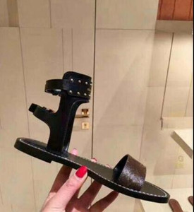 Осторожно! Горячие фирменные женщины печати кожа Номад сандалии дизайнер кожа подошва идеальный плоский печатных кожа сандалии Size35-41