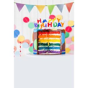 Happy Birthday Party Photographie Décors Rainbow Cake Pastel Backgrounds pour Studio Photo Enfants et Kid Nouveau-né Backdrop