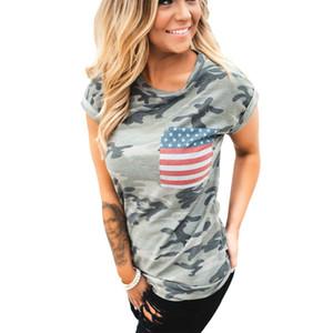Maglietta della bandiera americana stampata camuffamento della moda Estate manica corta di estate o collo superiore Magliette femme Tee