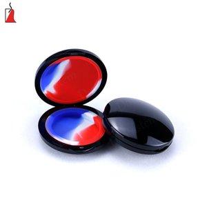 Noir en plastique maquillage miroir sec herbe contenant silicone dab bocal bocaux à tabac avec huile luisante silicone récipients personnalisés pour la cire