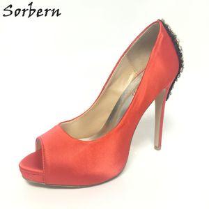 Sorbern Red Satin Hochzeit Schuhe Peep Toe Kristalle Brautschuhe High Heels Plattform Strass Hochzeit Pump Kleid Schuhe benutzerdefinierte Farben 34-46