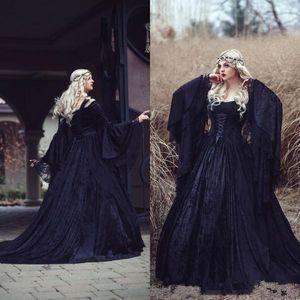 Abiti da sposa gotica vintage 2019 di alta qualità Nero pieno pizzo manica lunga manica medioevale corsetto da sposa abiti da sposa ritorno con il treno
