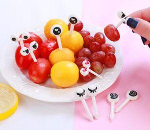 الكرتون الفاكهة شوكة يعاد استخدامها البلاستيك الفاكهة شوكة المسواك مصغرة العين الحيوانات الفاكهة شوكة أدوات المطبخ الديكور