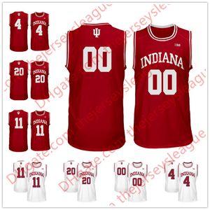 Custom Indiana Hoosiers 레드 화이트 맞춤형 스티치 모든 이름 # 4 Victor Oladipo 11 Thomas NCAA 대학 농구 저지 S-3XL