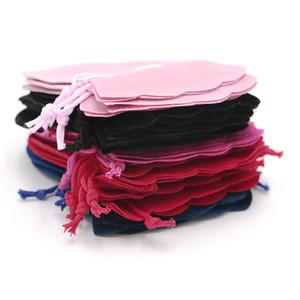 50pcs 9 * 12cm Gourde Velvet Cordon Poche Sac / Bijoux Sac De Noël / Cadeau De Mariage Sacs Noir Rouge Rose Bleu Rose Chaud 5 Couleur En Gros