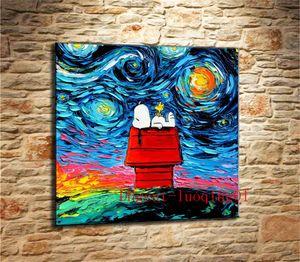 Snoopy Van Gogh, Peças de Lona Decoração de Casa HD Impresso Arte Moderna Pintura sobre Tela (Sem Moldura / Emoldurado)
