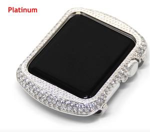Para a apple watch series 1 2 3 caso de diamante de strass zircão artesanal moldura de cristal galvanoplastia tampa do relógio de ouro 38mm 42mm