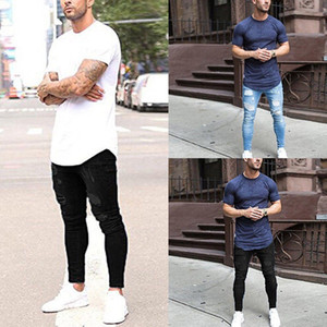 Casual Skinny Jeans Uomo Vintage Denim pantaloni a matita pantaloni stretch 2018 Estate autunno buco strappato jeans Zipper maschile Plus Size