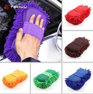 Súper Lavado de coches Guante Mano del coche Toalla suave Microfibra Chenilla Limpieza Esponja Bloque de lavado de coches Suministros