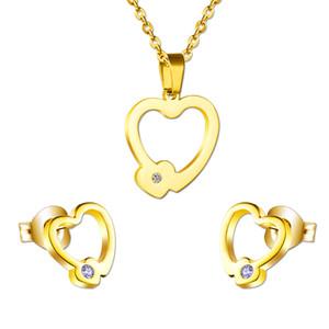 Venta completaSweet Love Double Heart Earrings + Necklace Pendant (Cadena gratuita) Conjuntos de joyería para regalo de boda, acero inoxidable + cristal brillante