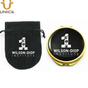 100pcs / lot su misura Colore Oro Compact Specchi velluto sacchetto del regalo di marca personalizzata Private Label d'oro da tasca specchio di trucco