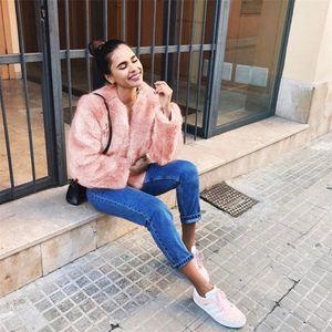 2018 Donne Faux Fur Coat Inverno caldo pelliccia pelosa Giacche Outwear Elegante Ladies New Fluffy Cappotti Overcoat Plus Size Abrigo Mujer