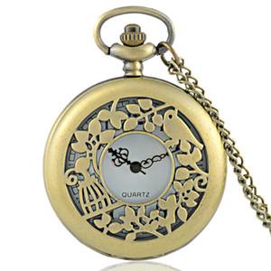 New Arrivals Bronze Lovebirds Hollow Quartz Pocket Watch Classic Vintage Men Women Pendant Necklace Gift