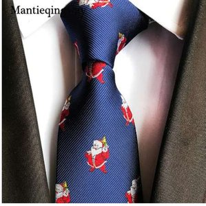 산타 클로스 Prinetd 8cm 넥타이 Corbatas 슬림 Vestidos 캐주얼 패턴 넥타이 넥타이에 대한 Mantieqingway 크리스마스 넥타이