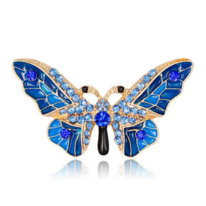 High Qulaity Enamel Crystal Brooches Pins For Women Clothes Scarf Bag Big Butterfly Animal Broach Rhinstone Broche European Style Fashion