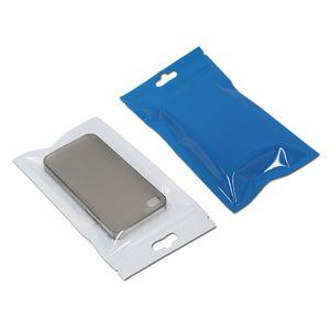 Effacer Front / bleu Fermeture à glissière de verrouillage de l'emballage en plastique Sacs avec Accrocher Trou blanc Sac Bijoux électronique produit Paquet poche