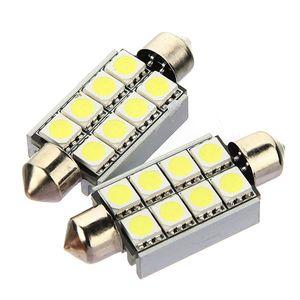 42mm 8 SMD 5050 LED CANBUS Hata Ücretsiz Araba Plaka Saf Beyaz Işıklar Okuma Lambası Ampul Festoon Dome Lamba 12 V