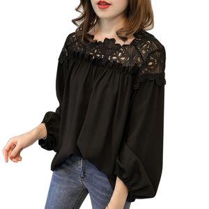 N EFINNY лето женская шифон кружева блузка фонарь рукав Слэш шеи полые крючком цветок пуловер топы 3XL 4XL
