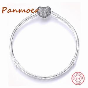 Luxo Authetic 100% 925 Corações de Prata Esterlina Forma Cor de Ouro Fivela Cobra Cadeia Charme Beads Fit pandoras Pulseira Para As Mulheres