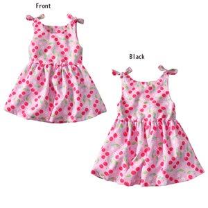 Kız Elbise Çocuk Giysileri Baskılı Tekne Boyun Polyester kolsuz PEMBE Çocuk Bebek Kiraz Baskı Tankı Elbise