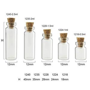 100 pcs Pequenos Frascos De Vidro Bonito Mini Desejando Rolha De Cortiça Garrafas De Vidro Frascos Recipientes 0.5 ml 1 ml 1.5 ml 2 ml até 5 ml