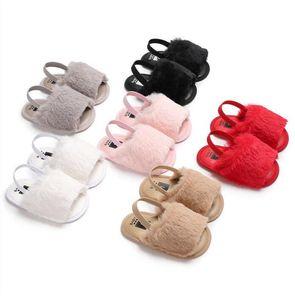 Recém-nascidos Casuais Da Criança Do Bebê Meninas Sandália de Verão Sapatos De Pele Sólida Plana Com Calcanhar Sapatos de Bebê Chinelos