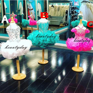 Pageant robes de petite fille 2019 Toddler Enfants Robe De Robe Glitz Coupe Cake Fleur Fille Robe Mariages Perlé Taille Organza Ruffles 4 6 8