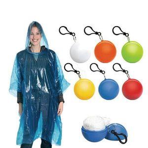 Spherical Raincoat Plastic Ball Key Chain Disposable Portable Raincoats Rain Covers Travel Tour Trip Rain Coat HH7-1228