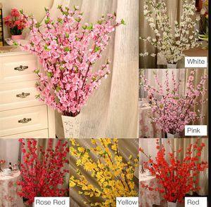 Artificiale Cherry Spring Plum Peach Blossom Branch Fiore di seta Home Matrimonio Fiori decorativi Plastica Peach Bouquet 65CM