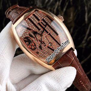 Новые Сумасшедшие Часы Casablanc 8880 Розовое Золото Алмазный Череп Большой Римский Слово Циферблат Автоматические Мужские Часы Коричневый Кожаный Ремешок 4 Стили Lxuury F123c3