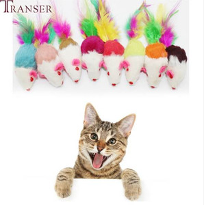 Transer Pet Supply 1 pieza Soft Plush Ratones falsos Mouse Cat Dog Toys Juguete interactivo con Colorful Feather 71229